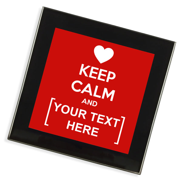 Personalised Glass Coaster | Keep Calm Heart