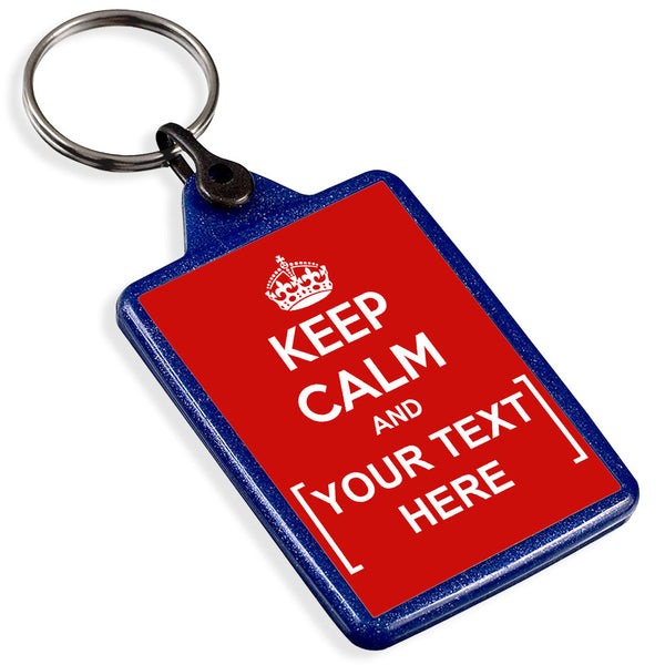 Personalised Blue Recycled Keyring | Keep Calm