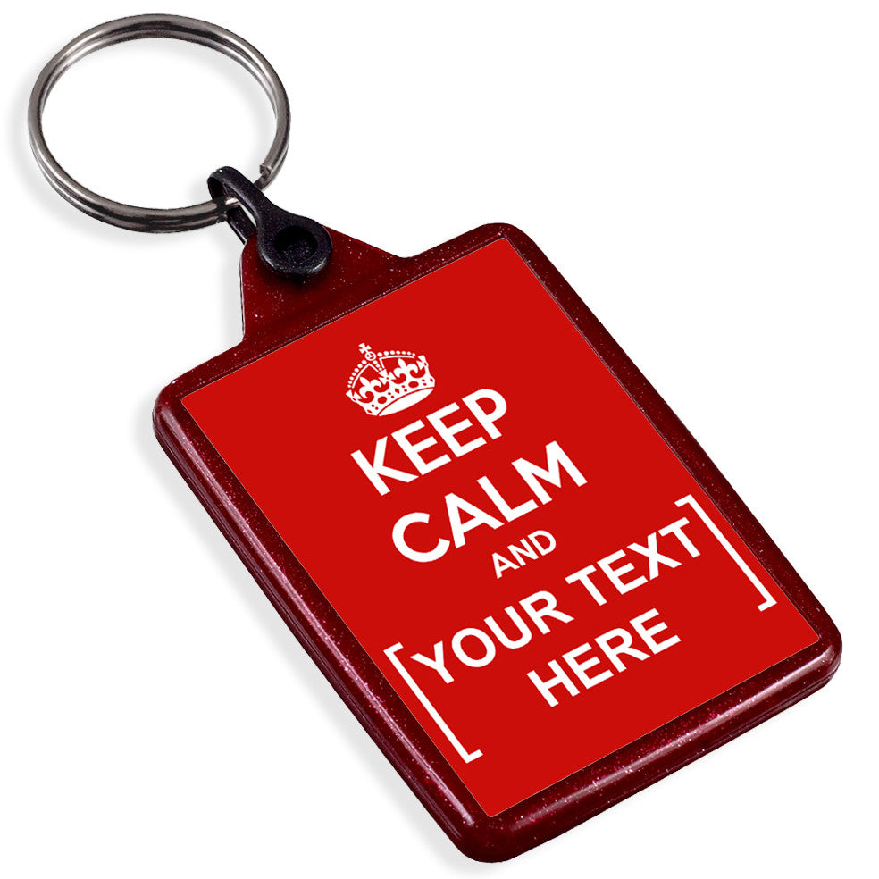 Personalised Red Recycled Keyring | Keep Calm