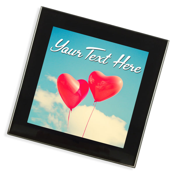 Personalised Glass Coaster | Balloon Hearts