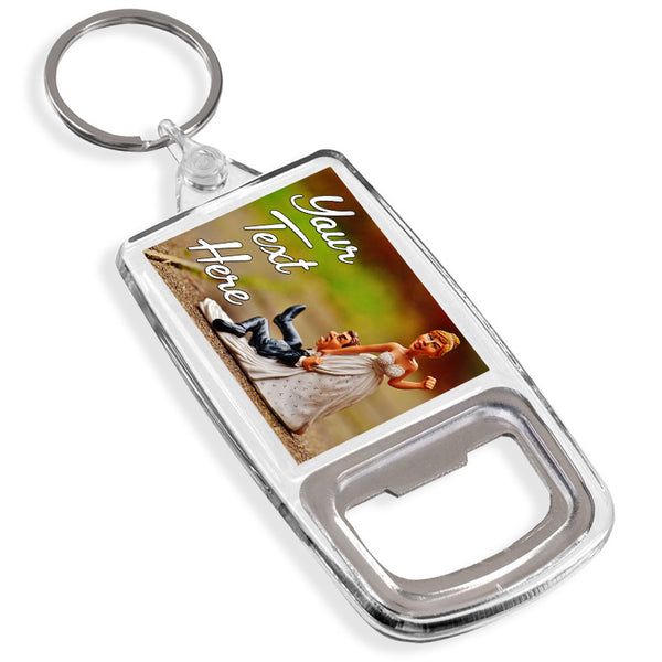 Personalised Bottle Opener Keyring | Bride & Groom