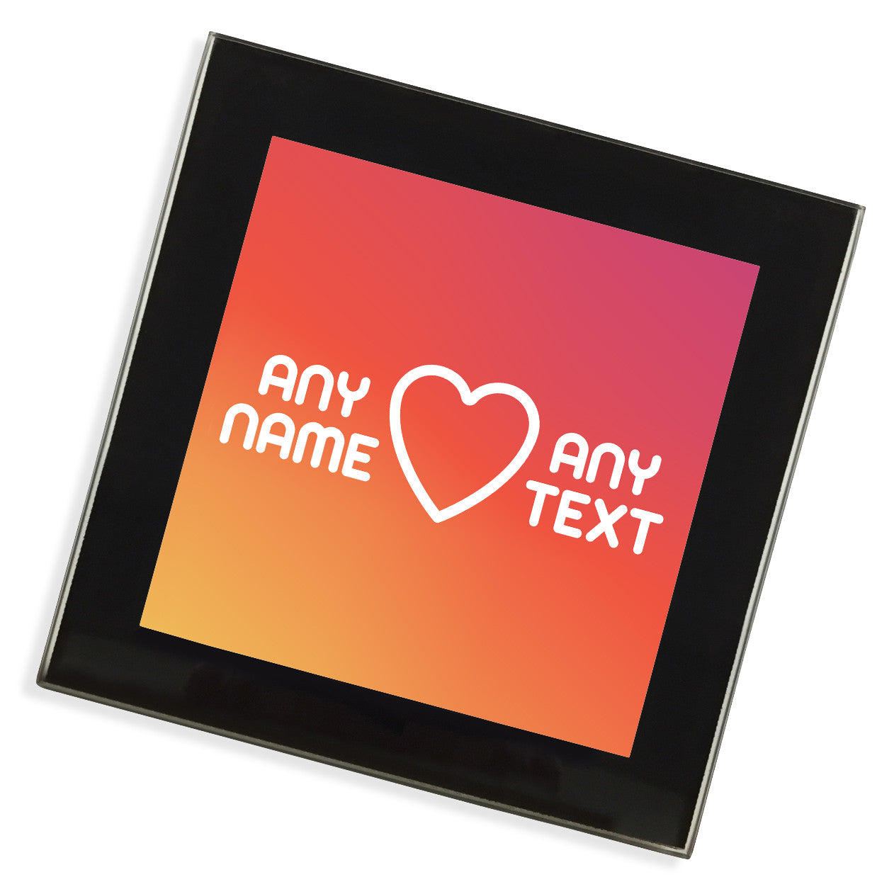 personalised glass coaster heart pixly. Black Bedroom Furniture Sets. Home Design Ideas