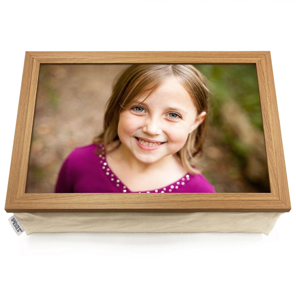 Personalised Photo Lap Tray | Oak Finish
