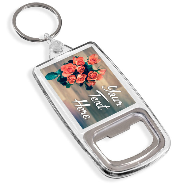 Personalised Bottle Opener Keyring | Roses