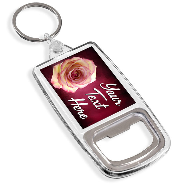 Personalised Bottle Opener Keyring | Rose
