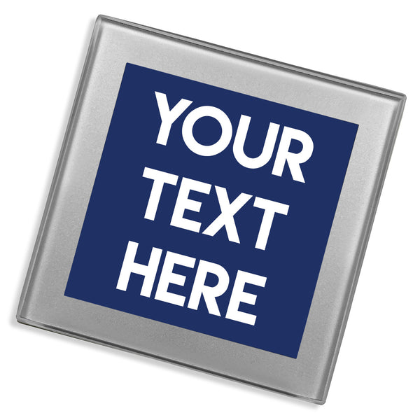 Personalised Text Glass Coaster | Silver