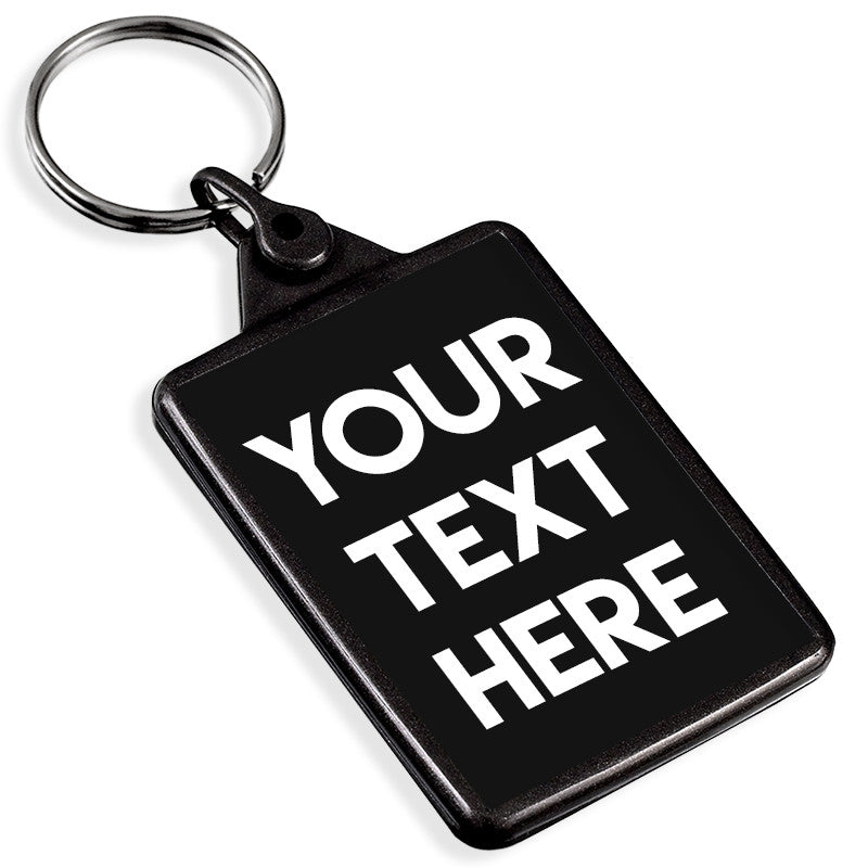 Personalised Text Recycled Plastic Keyring | Graphite