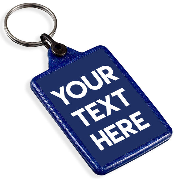 Personalised Text Recycled Plastic Keyring | Blue