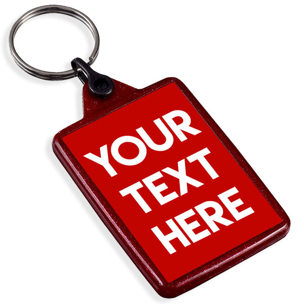 Personalised Text Recycled Plastic Keyring | Red