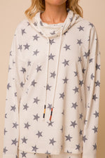 Star Print Cowl Neck Top