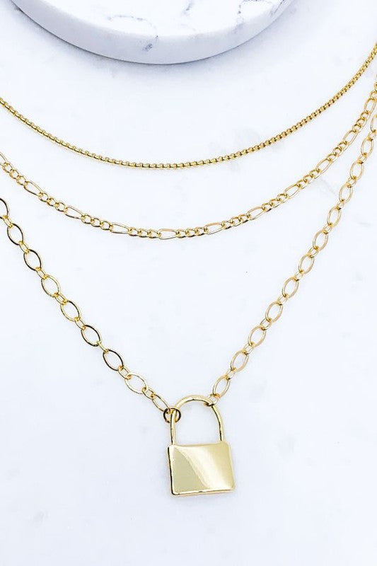 Lock Pendant Layered Necklace