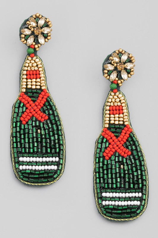 Beaded Bottle Drop Earrings