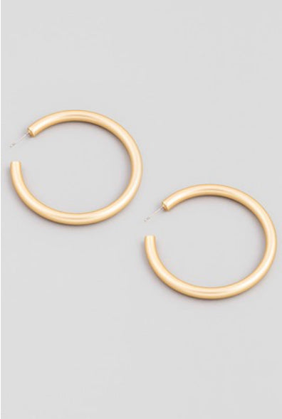 Matte Gold Hoop Earrings Large