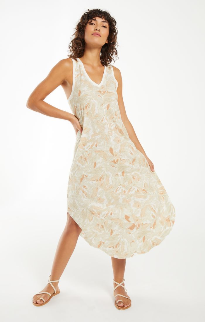 Reverie Floral Midi Dress Sun Tan