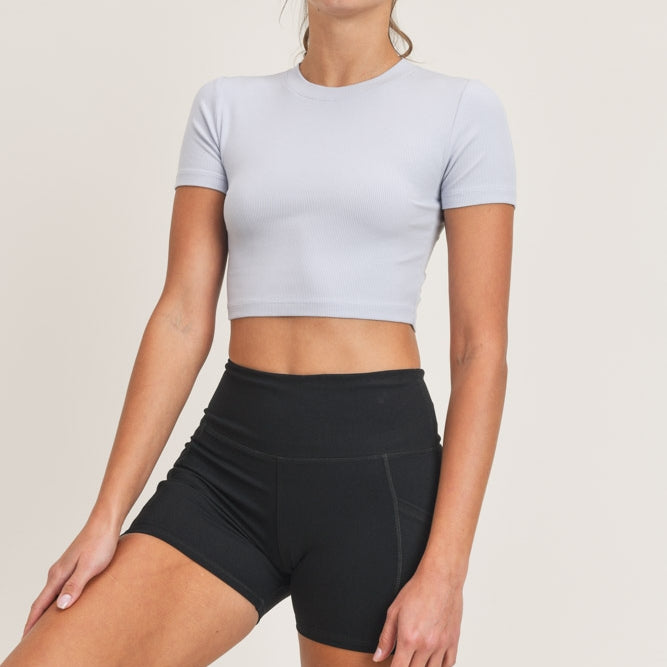 Essential Micro-Ribbed Cropped Athleisure Tee