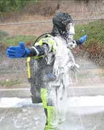 Easy decontamination on a public safety drysuit