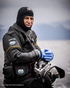 Amos Nachoum in his DUI drysuit and BlueHeat