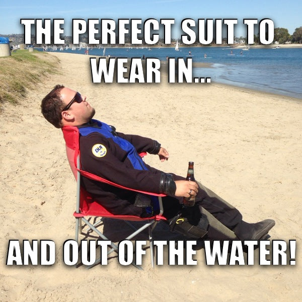 At the beach in your DUI drysuit