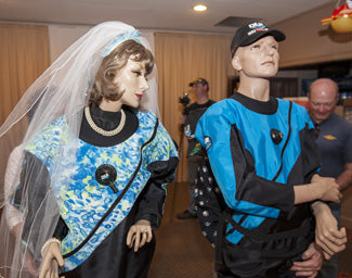 Bernie & Jezebel get married in their DUI drysuits