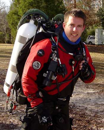 Casey McKinlay in his DUI drysuit