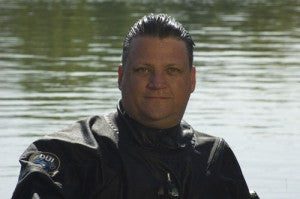 Author Eric Douglas in his DUI drysuit