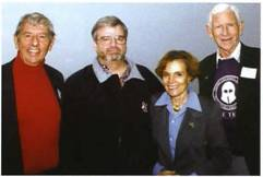 Dick has always been involved at the highest levels of diving. In this photo, left to right, John Craven, Naval Scientist; Dick Long; Dr. Sylvia Earle, Oceanographer; and Sir John Rawlins, British Navy (deceased). © Leslie Leaney