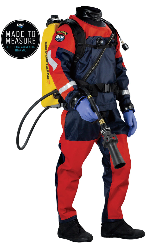 TLS350 Public Safety - Premium Drysuit - Red Tough Duck - ZipGloves