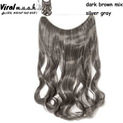 Dark Brown/Silver Gray Mix Curly - Viral Makeup and Hair Product Photo