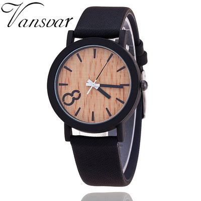 Quartz Women's Watch - Casual Wooden Color with Leather Strap