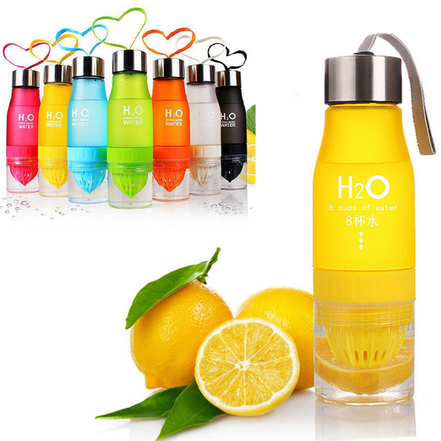 H20 Matte Colorful Fruit Infusion Sports Bottle - Food Grade Quality Plastic , 650ml