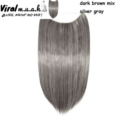 Dark Brown/Silver Gray Mix Straight - Viral Makeup and Hair Product Photo
