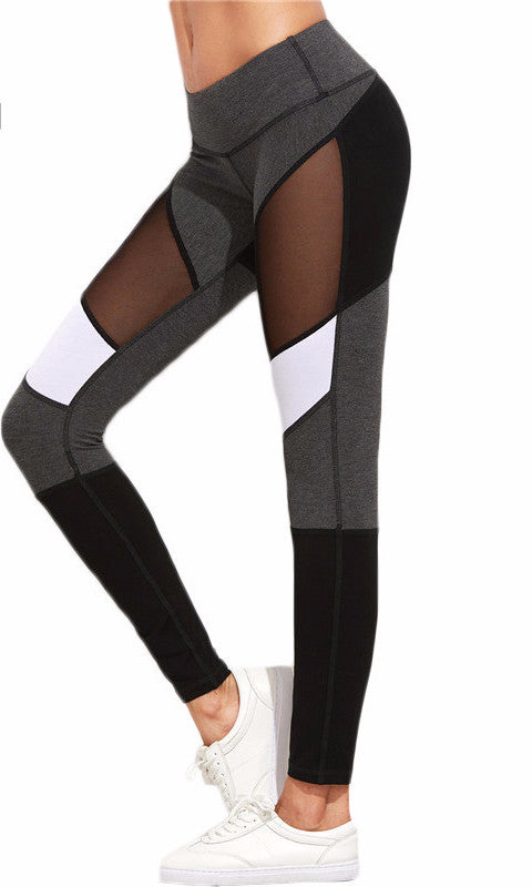 Women's Sexy Spring Fashion -Mesh Color Block Work Out Fitness Stretch Yoga Pants-Leggings-And 1 For All