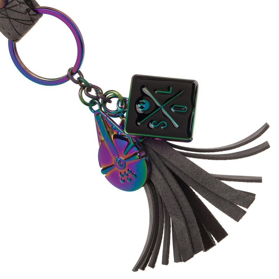 Star Wars Han Solo Key Holding Lanyard w/ Holographic Millennium Falcon Charms, Fringe Style and1forall.com