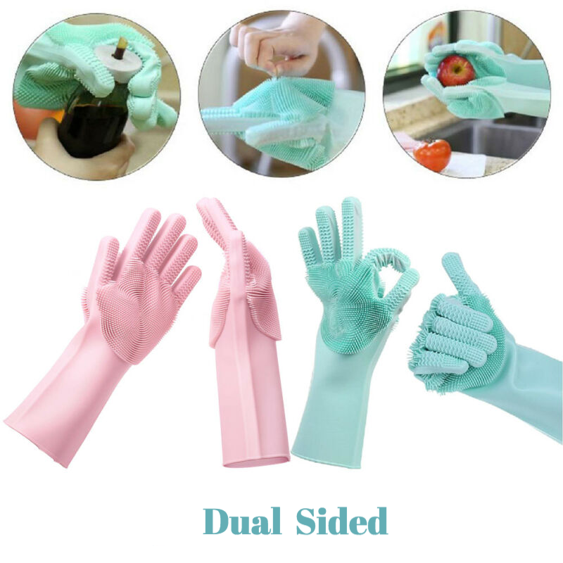 Magic Dish Washing Gloves | Double Sided Scrubber Cleaning