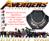 Marvel The Avengers 11 Charm Superhero Lobster Clasp Jewelry Necklace
