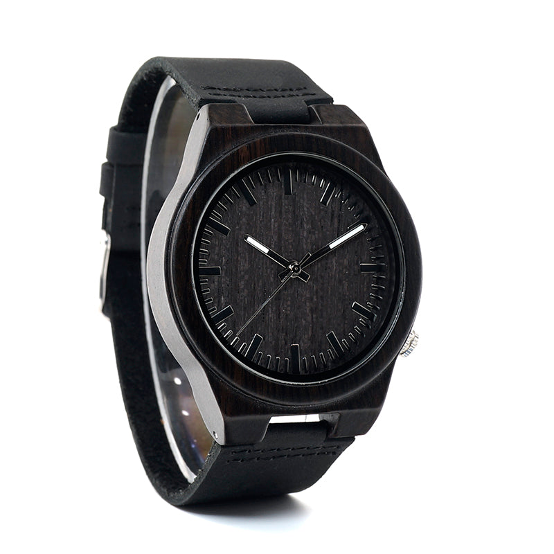 Bamboo Black Watch with Leather Strap