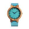 Teal Watch - Antique Wood Blue Leather Bamboo Watch - Unisex
