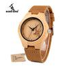 Women's Deer Bamboo Wood Watch with Leather Wristband