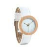 Women's Classic Round Circle Golden Bamboo Watch With White Leather Strap