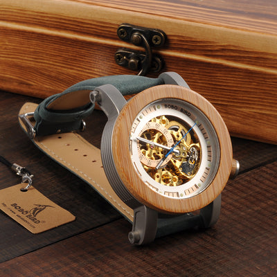 Luxury Classic Style Automatic Wood Watch - Teal