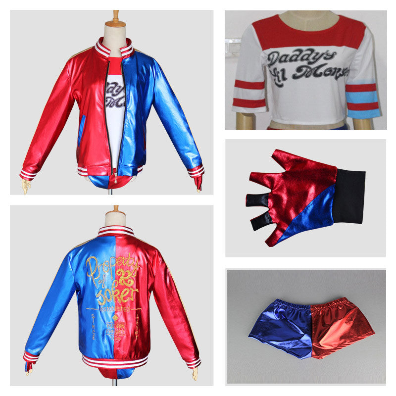 Marvel Harley Quinn Suicide Squad Costume - Embroidery Jacket+Shirt+Shorts+Glove-Cosplay, Costumes-And 1 For All