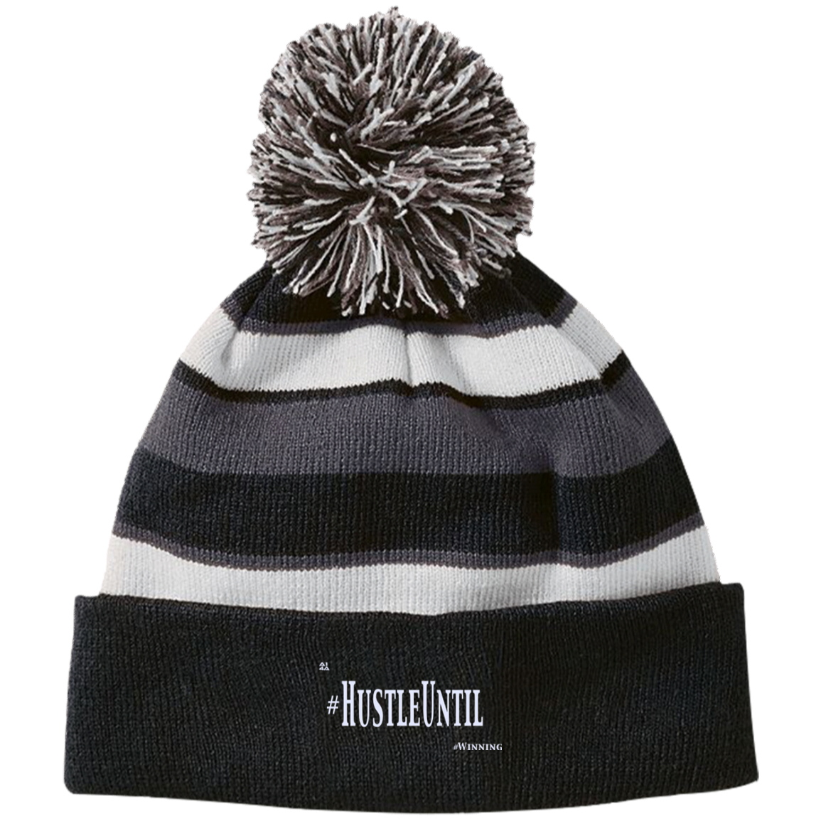 Hustle Until - Holloway Striped Beanie with Pom