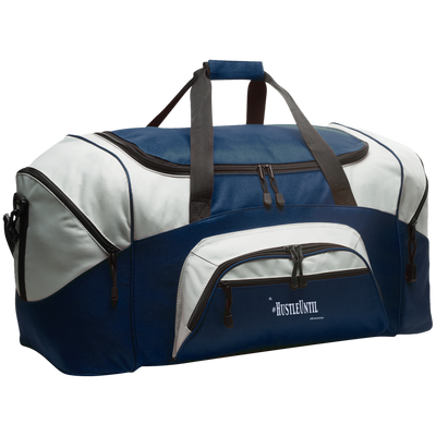 Hustle Until - Port & Co. Colorblock Sport Duffel Wht-Bags-And 1 For All