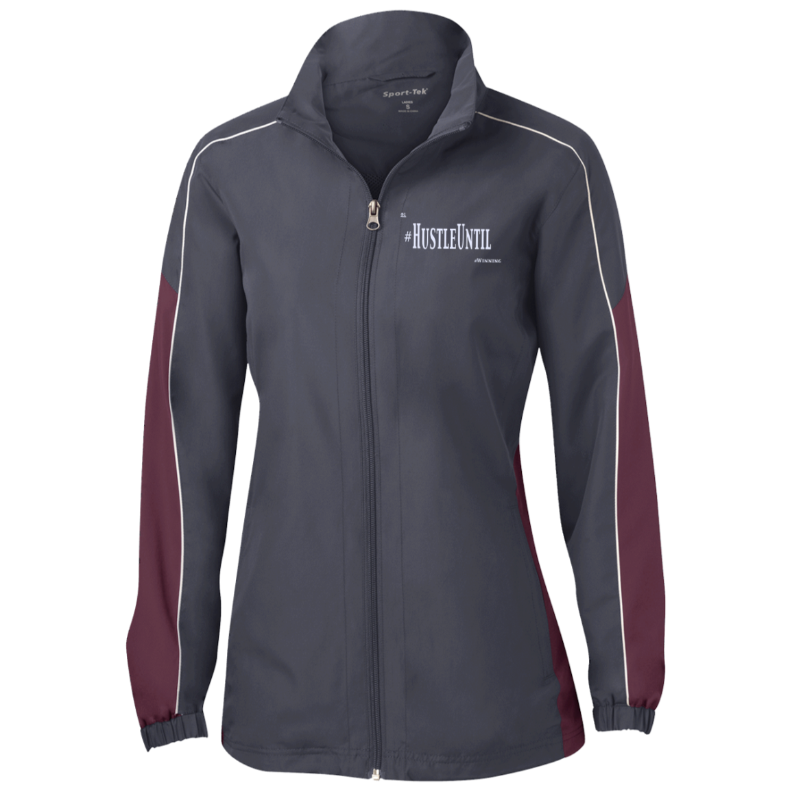 Hustle Until - Sport-Tek Ladies' Piped Colorblock Windbreaker
