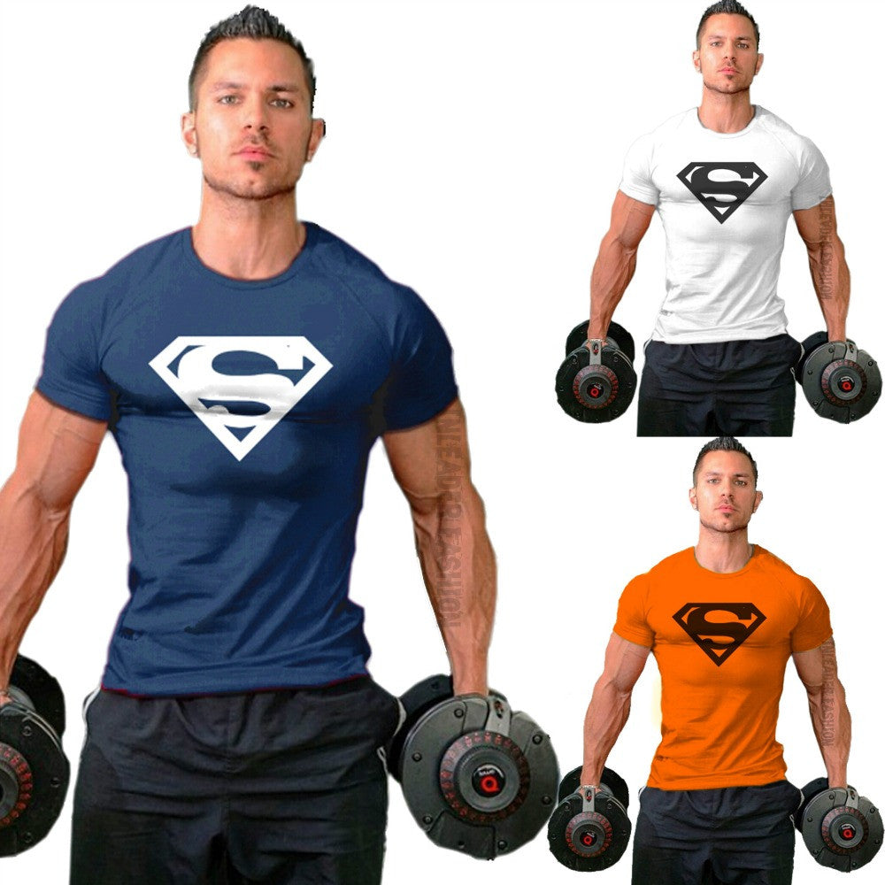 Men's SuperMan Logo Fitness Work Out Compression T-shirt
