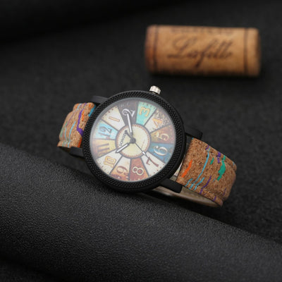 Lovers' Fashion Unique Turntable Wood Watch with Leather Strap