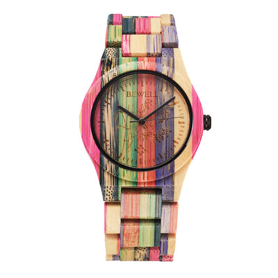 Women's Luxury Brand Colorful Natural Bamboo Wooden Quartz Watch.