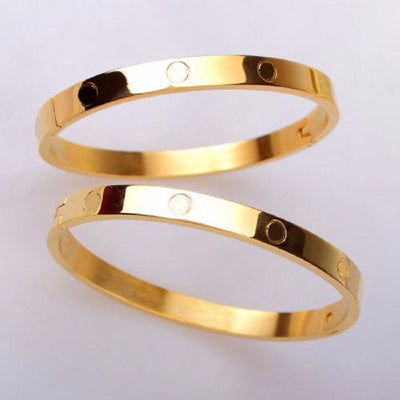 "Love Bracelet Screw Yellow Gold Size - 6"", 7.5""-Bangles-And 1 For All"
