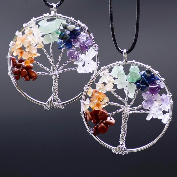 Tree Of Life Pendant - Amethyst Rose Crystal Necklace Gemstone Chakra Jewelry Gifts