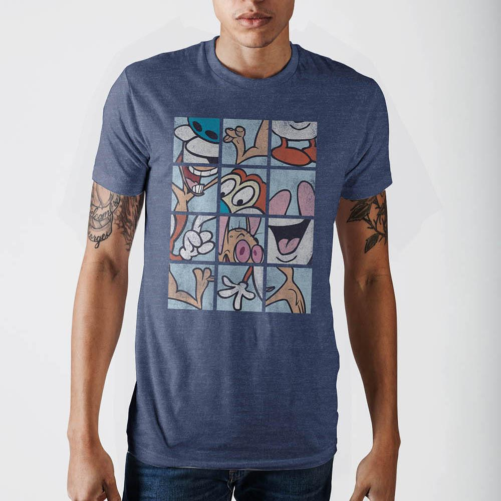 Ren And Stimpy Grid Mens Blue  T-Shirt